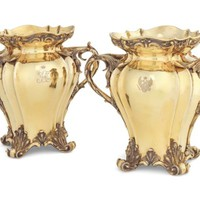 A PAIR OF SILVER-GILT BOTTLE COOLERS FROM THE GRAND DUCHESS OLGA NIKOLAEVNA SERVICE , MARK OF CARL TEGELSTEN, ST PETERSBURG, CIRCA 1840