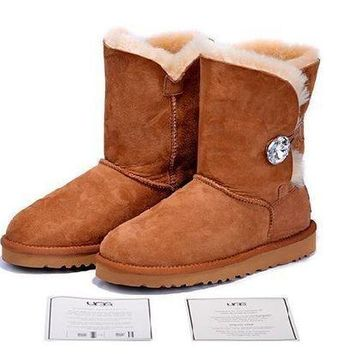 ESBON Ready Stock Brown Sheepskin Wool-one Ugg Tall Boots With Diamond Button From Artemisoutlet