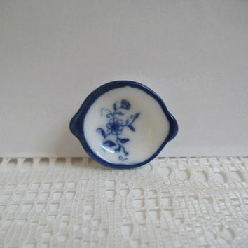 Miniature Bowl Shallow Blue and White Dollhouse Ceramic Bowl