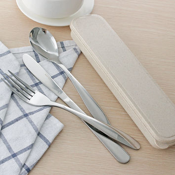 Portable Picnic Camping Dinnerware Set Sliver Stainless Steel Cutlery Knife Fork Spoon Box Flatware Set Kitchen Accessories