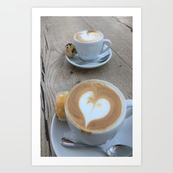 Sweet Cappuccino and a Heart Art Print by tanjariedel