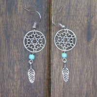 Antique Silver Dream catcher Earrings , Feather Earrings, Twilight Inspired, Blue Bead Earrings , Native American Jewelry