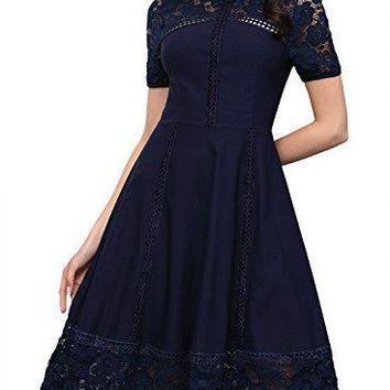 MissMay Women's Vintage 1950s Floral Lace Contrast Elegant Cocktail Swing Dress
