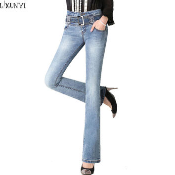 Special Price New 2016 Spring Autumn Flare jeans Women Plus Size Casual Fashion High Waist  jean Slim femme With Belt 26-33 Size