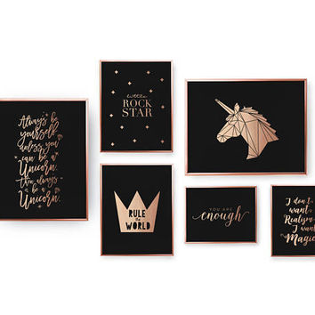 SET of 6 Prints, Kids Room Set, Nursery Decor, Real Gold Foil Print, Little Rock Star Poster, Home Decor, Typography Art, Unicorn Print