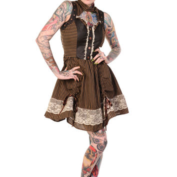 Victorian Gothic Steampunk Sleeveless Brown and Black Stripes Mini Dress