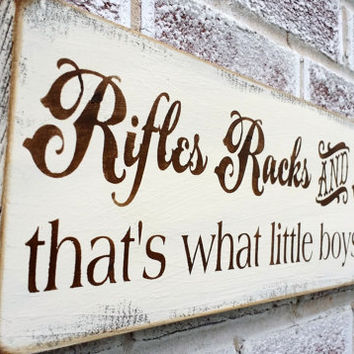 "Baby Boy's Nursery, Rustic Rifles, Racks and Deertracks...That's what little boys are made of"" country hunting hunter man cave buck southern"