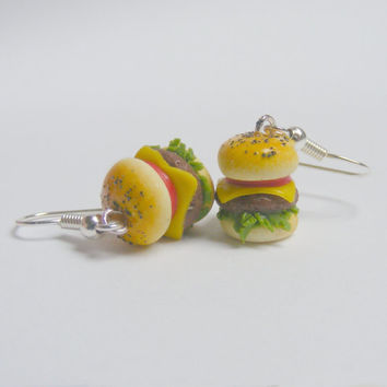 Food Jewelry Cheeseburger Drop Earrings, Miniature Food Jewellery, Burger Earrings, Mini Food, Food Earrings, Fast Food, Burger Jewelry