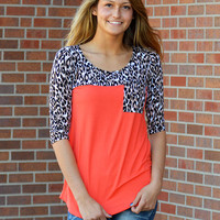 Just In Time Leopard Top Coral