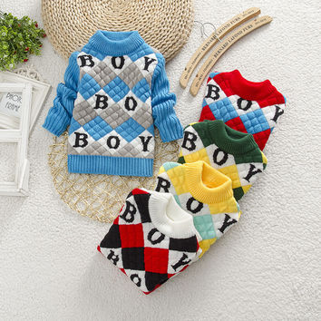 autumn winter baby girls boys new styles round collar knitting sweater cute long sleeve children sweater 1-4ages