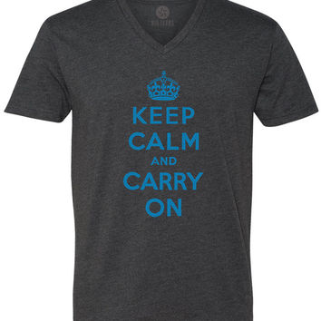 Keep Calm and Carry On (Cyan) Short-Sleeve V-Neck T-Shirt