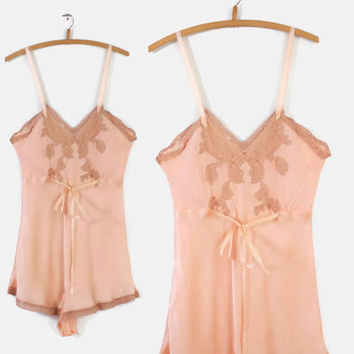30s LINGERIE Boudoir Step-In TEDDY / 1930s Peach SILK Satin & Chiffon Lace Romper S - M
