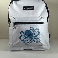 Child's White Everest Backpack Hand Painted Octopus