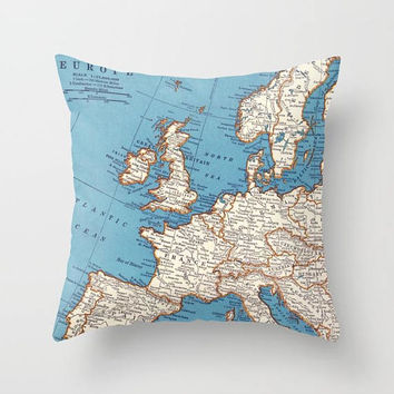 Europe Map Pillow - continent map - blue , travel decor,  decorative pillow, England, wanderlust,  Vintage Maps, unique