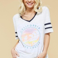 California V-neck varsity graphic tee