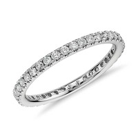 Petite Pavé Diamond Eternity Ring in 14k White Gold (1/2 ct. tw.) | Blue Nile