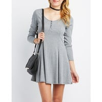 Ribbed Trapeze Shift Dress