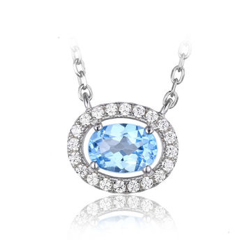 Silver Round 1ct Natural Blue Topaz Pendant Necklace