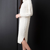 Cowl Neck Chunky Cable Patterned Knit Sweater Dress