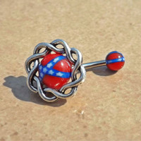 Rebel Flag  with Knott Fits in Navel Belly Ring Body Jewelry