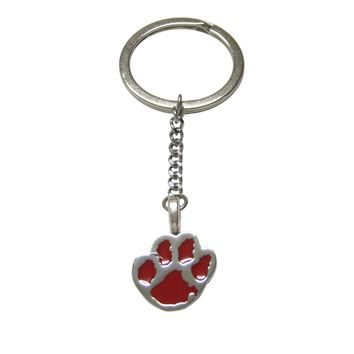 Red Animal Paw Pendant Keychain