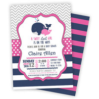 Pink Navy Whale Baby Shower Invitation - its a girl Nautical Chevron Girl Baby Shower Invites - girl baby shower - baby shower invite ocean