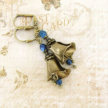 Victorian Brass Flower Earrings - Iridescent Peacock Blue Bronze Jewelry - Vintage Style Victorian Flower Unique Gift For Her Flower Jewelry