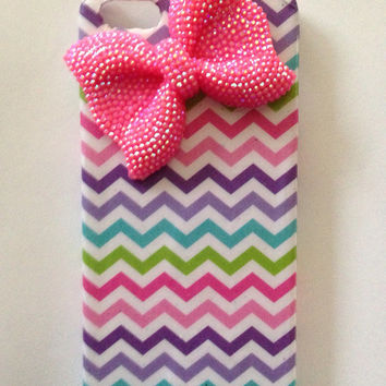 Handmade decoupage chevron iPhone 5 case with bling bow