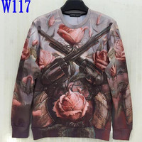 FG1509 [Mikeal] Free Shipping Fashion 3d Sweatshirt for Men/Women Funny Print The Rose and 2 Gun Army Hoodies W117