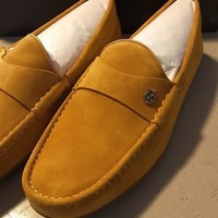 New $655 Gucci Men's Suede Drivers Loafers Shoes Yellow 11G ( 11.5 US ) Italy