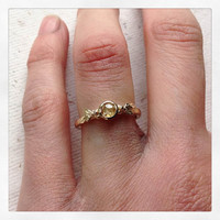 Golden Yellow Rose Cut Diamond, Olive Leaf Ring in 9ct Yellow Gold - Alternative Engagement Ring, Made To Order By Hand