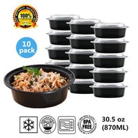 Round Plastic Food Storage Container With Lid Bento Box Meal Preparation Container Microwave&Dishwasher Safe 30.5ounce 10 pack