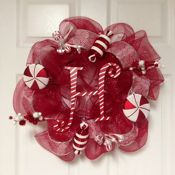 Whimsical Deco Mesh Christmas Wreath- Monogrammed Christmas Wreath- Peppermint Wreath
