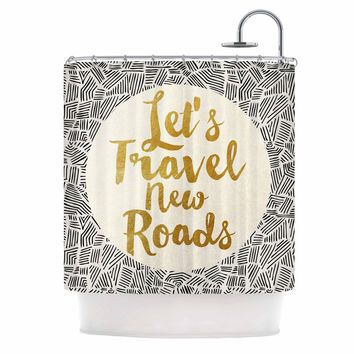 "Pom Graphic Design ""Let's Travel New Roads"" Gold Black Shower Curtain"