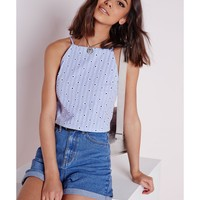 Missguided - Printed Broderie High Neck Crop Top Blue
