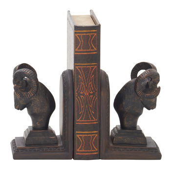 Exceptional Ram Head Bookend Pair 4In W 7In H