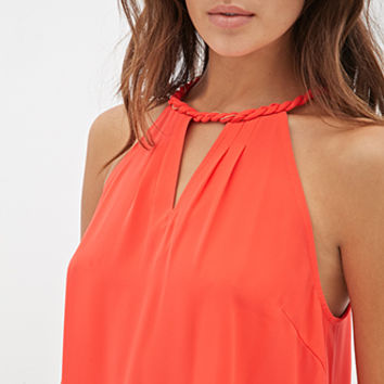 FOREVER 21 Braided Halter Top Coral