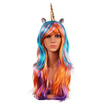Unicorn Wig With Glitter Horn and Ears - Rainbow Colors - Style #7