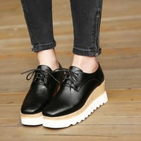 Baby Thick Crust Shoes Wedge Square Toe Platform Shoes [6044949953]