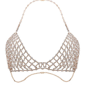 Golden Halter Rhinestone Body Chain