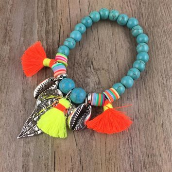 Natural Big Stone Mala Beads Alloy Leaf Sea Shell colorful cotton tassel pendant Charms Bracelet Meditation Ethnic Jewelry
