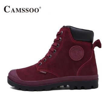 Camssoo Outdoor Hiking Boots Women Warm With Fur Climbing Mountain Shoes Winter Women Outdoor Shoes  B2842