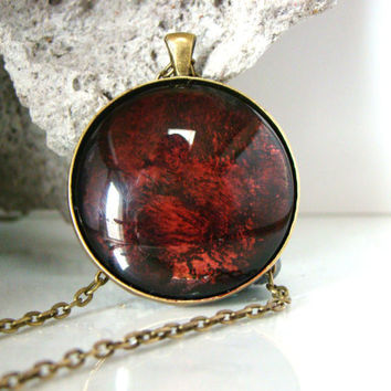 Large Round Dark Ruby Red Hand painted glass pendant Dark Red Statement Necklace Hand painted jewelry Alcohol ink pendant