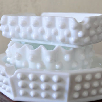 Vintage Milk Glass Ash Tray Set, English Hobnail, Trinket Dishes