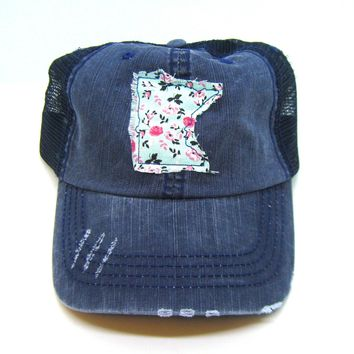Minnesota Hat - Navy Blue Distressed Trucker Hat - Aqua Floral Applique - All United States Available