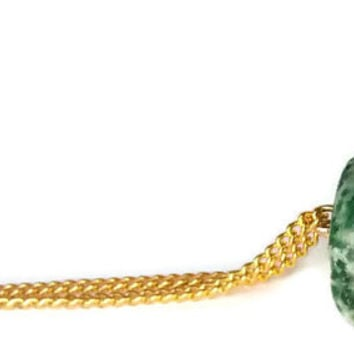 Green gemstone necklace - boho pendant necklace - green pendant - stone pendant necklace - natural stone necklace - moss green jewelry
