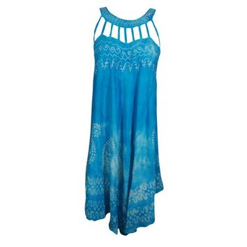 Mogul Sun To Earth Beach Breeze Cover Up Tie Dye Dress Stylish Neck Summer Fashion Boho Chic Gypsy Hippy Sundress - Walmart.com