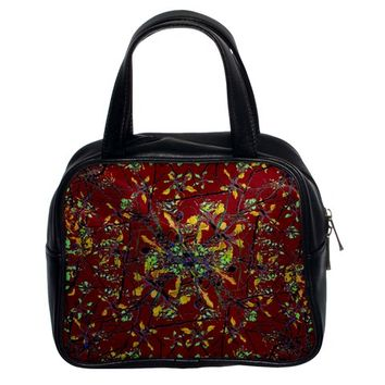 Oriental Floral Print Classic Handbags (2 Sides)