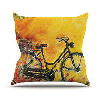 "Josh Serafin ""To Go"" Yellow Bicycle Throw Pillow"