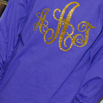 Monogrammed T shirt Long Sleeve Large Vinyl Monogram
